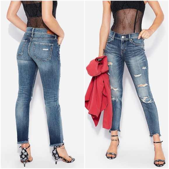 Express Distressed Skinny Ankle Mid Rise Cutoff Jeans Sz 12R